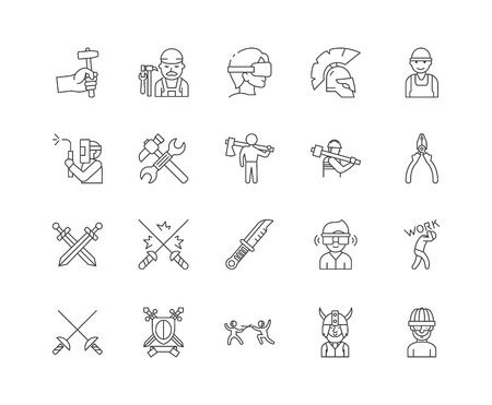 Blacksmiths line icons, linear signs, vector set, outline concept illustration Vettoriali