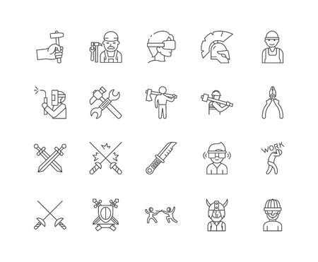 Schmiedeliniensymbole, lineare Zeichen, Vektorsatz, Umrisskonzeptillustration Vektorgrafik