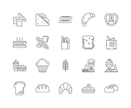 Ikony linii chleba, znaki liniowe, wektor zestaw, ilustracja koncepcja konspektu Ilustracje wektorowe