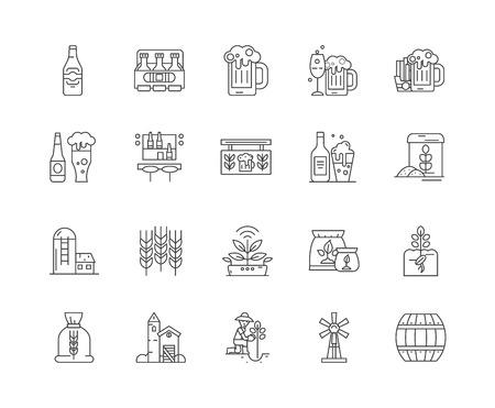 Brewer line icons, linear signs, vector set, outline concept illustration