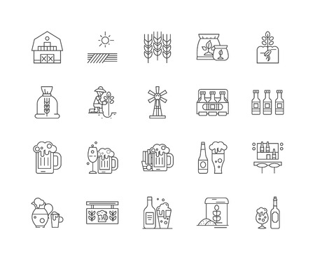 Brewery line icons, linear signs, vector set, outline concept illustration Vector Illustratie