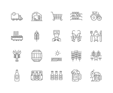 Brewery shop line icons, linear signs, vector set, outline concept illustration