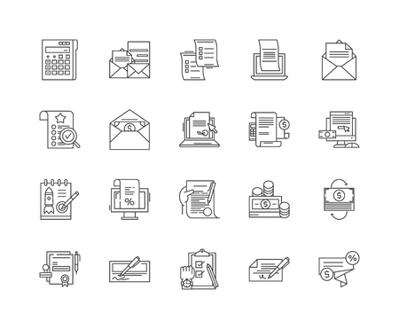 Billing line icons, linear signs, vector set, outline concept illustration