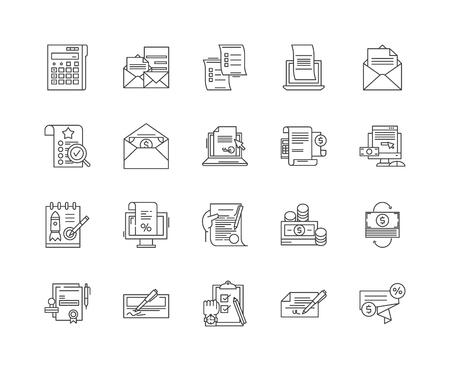 Billing line icons, linear signs, vector set, outline concept illustration