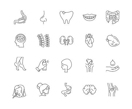 Body part line icons, linear signs, vector set, outline concept illustration
