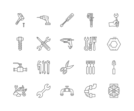 Bolts, nuts, screw, rivets & washers line icons, linear signs, vector set, outline concept illustration