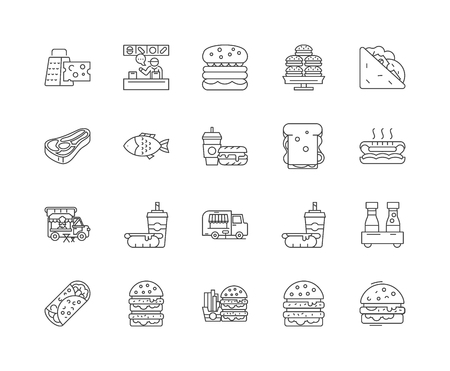 Burger line icons, signs, vector set, outline illustration concept Ilustração