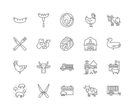 Icônes de ligne de boucherie, signes linéaires, ensemble de vecteurs, illustration de concept de contour Vecteurs