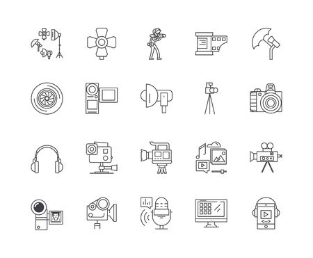 Cctv & videoequipment line icons, linear signs, vector set, outline concept illustration Illustration