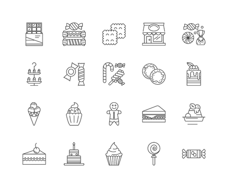 Candy shop line icons, linear signs, vector set, outline concept illustration Illustration