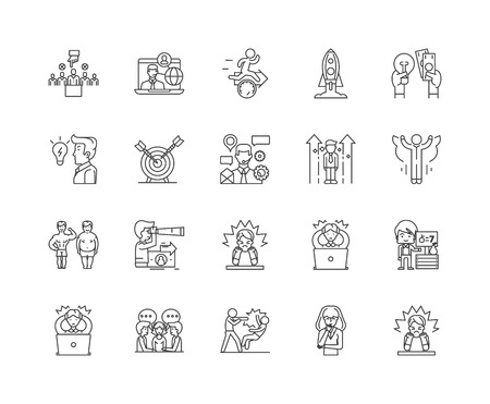 Challenge line icons, linear signs, vector set, outline concept illustration