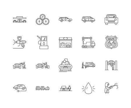 Car wash line icons, linear signs, vector set, outline concept illustration Illustration