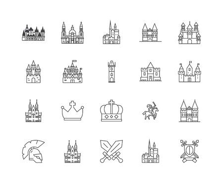 Castles line icons, linear signs, vector set, outline concept illustration