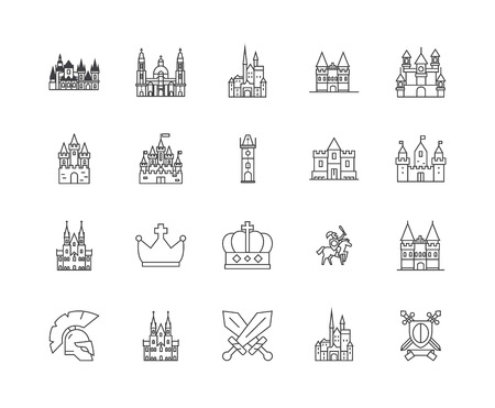 Castles line icons, linear signs, vector set, outline concept illustration