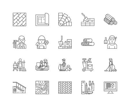 Carpets line icons, linear signs, vector set, outline concept illustration