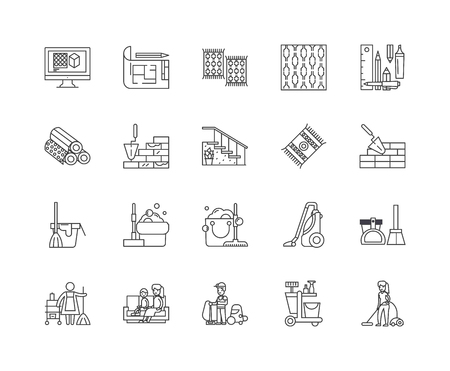 Carpets and upholstery cleaning line icons, linear signs, vector set, outline concept illustration