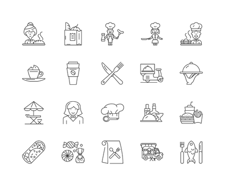 Catering company line icons, linear signs, vector set, outline concept illustration