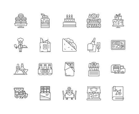Catering services line icons, linear signs, vector set, outline concept illustration