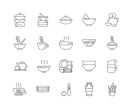 Ceramics line icons, linear signs, vector set, outline concept illustration  イラスト・ベクター素材