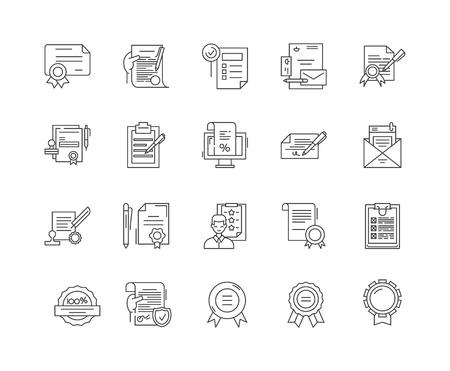 Certificates line icons, linear signs, vector set, outline concept illustration