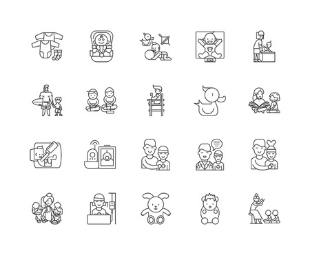 Chilcare line icons, linear signs, vector set, outline concept illustration