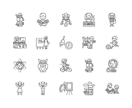 Symbole für die Mittellinie der Kinderentwicklung, lineare Zeichen, Vektorsatz, Umrisskonzeptillustration