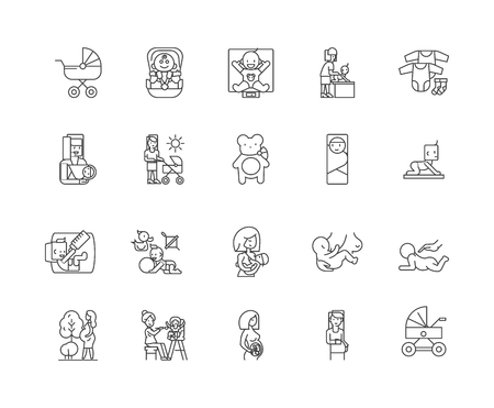 Childbirth line icons, linear signs, vector set, outline concept illustration