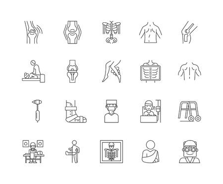 Ikony linii kręgarz, znaki liniowe, wektor zestaw, ilustracja koncepcja konspektu