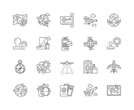 Citizenship line icons, linear signs, vector set, outline concept illustration