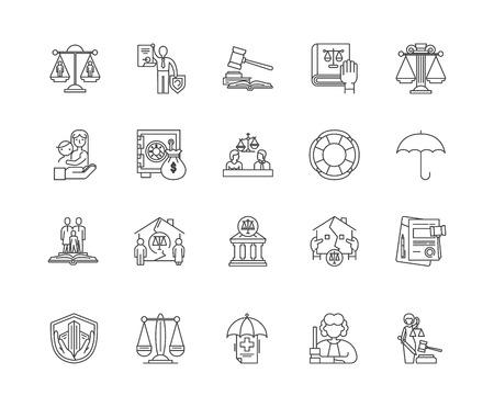 Civil law line icons, linear signs, vector set, outline concept illustration