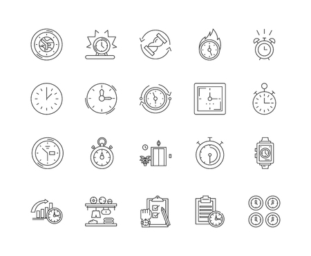 Clock and watch repairs and parts line icons, linear signs, vector set, outline concept illustration