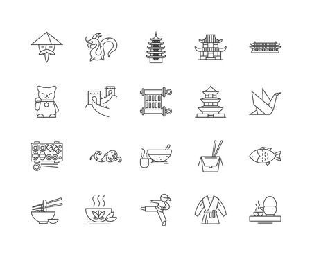 China line icons, linear signs, vector set, outline concept illustration