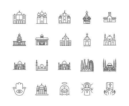 Church line icons, linear signs, vector set, outline concept illustration Illustration