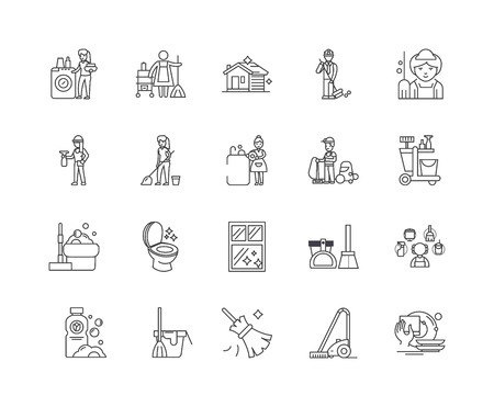 Cleaning line icons, linear signs, vector set, outline concept illustration Illustration
