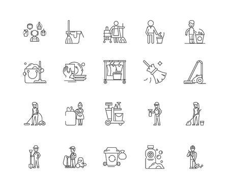 Liniensymbole der Reinigungsfirma, lineare Zeichen, Vektorsatz, Umrisskonzeptillustration