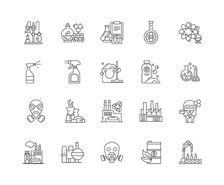Chemistry line icons, linear signs, vector set, outline concept illustration