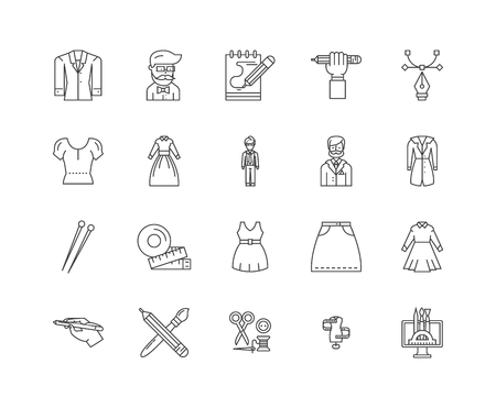 Clothing designer line icons, linear signs, vector set, outline concept illustration