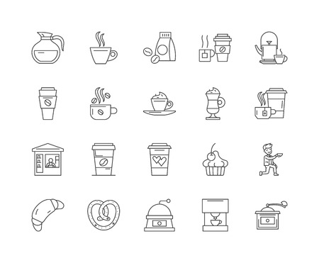 Coffee store line icons, linear signs, vector set, outline concept illustration
