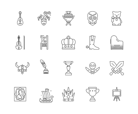 Collectibles shop line icons, linear signs, vector set, outline concept illustration Ilustração