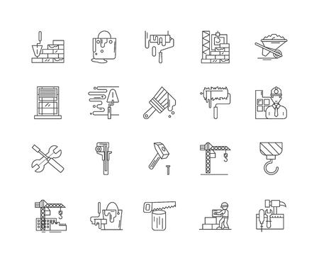 Baustoffliniensymbole, lineare Zeichen, Vektorsatz, Umrisskonzeptillustration