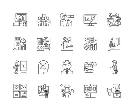 Content manager line icons, linear signs, vector set, outline concept illustration