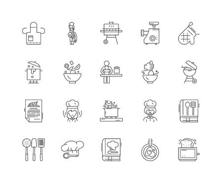 Icone della linea del concetto di cucina, segni lineari, set di vettori, illustrazione del concetto di contorno