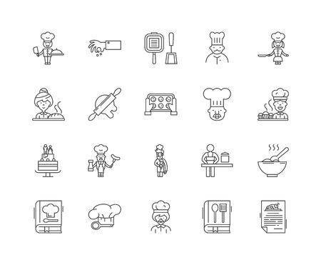 Icônes de ligne d'écoles de cuisine, signes linéaires, ensemble de vecteurs, illustration de concept de contour