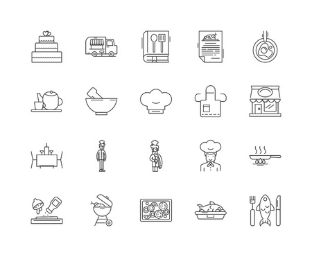 Cooking class line icons, linear signs, vector set, outline concept illustration