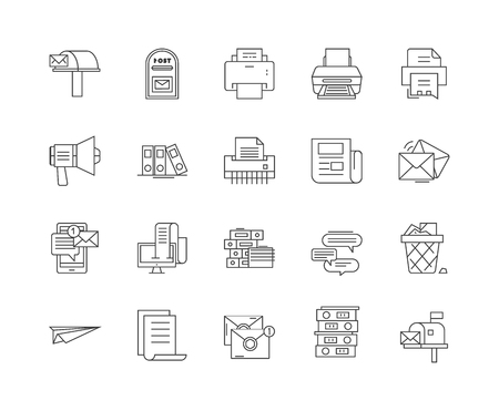 Correspondence line icons, linear signs, vector set, outline concept illustration Vettoriali