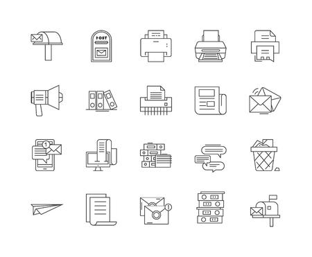 Iconos de línea de correspondencia, signos lineales, conjunto de vectores, ilustración del concepto de esquema