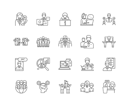 Councelling line icons, linear signs, vector set, outline concept illustration