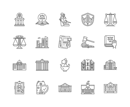 Courthouse line icons, linear signs, vector set, outline concept illustration Ilustração