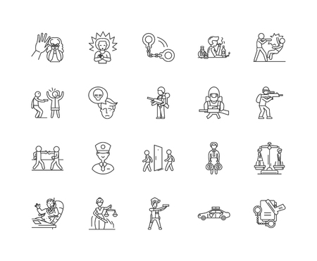 Crime line icons, linear signs, vector set, outline concept illustration Ilustração