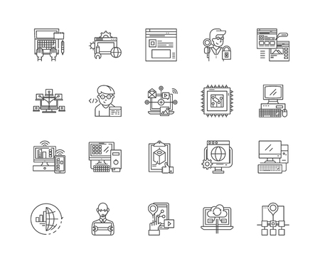 Computer programming line icons, linear signs, vector set, outline concept illustration